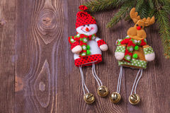 Christmas holidays composition on brown wooden background with copy space for your text Stock Images