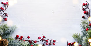 Christmas holidays composition with Christmas tree decoration on Royalty Free Stock Images