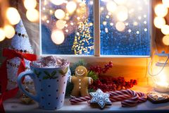 Christmas holidays composition; hot chocolate drink royalty free stock images