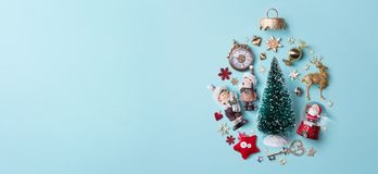 Christmas holidays composition on papaer background Royalty Free Stock Photography
