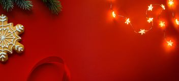 Christmas holidays composition on red background with copy space for your text royalty free stock photo