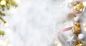 Christmas holidays composition on white background with copy spa. Christmas holidays composition on white background; Top view with copy space for your text Stock Photo