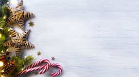 Christmas holidays composition on white wooden background with c stock photos