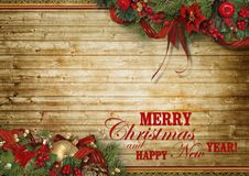Christmas holidays composition on wood background with copy space for your text stock photos