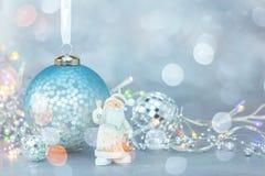 Christmas holidays decorations on blue frosty background royalty free stock photo