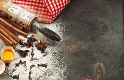 Christmas holidays food. Baking ingredients and tolls Royalty Free Stock Photos