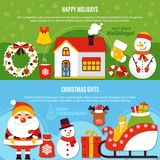 Christmas Holidays And Gifts Banners. Horizontal flat banners with happy holidays and christmas gifts on green and blue background isolated vector illustration Stock Photo