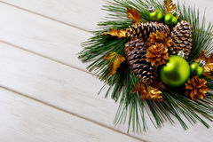 Christmas holidays golden cones decorated wreath, copy space Stock Photo