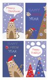 Set of christmas cards with cute cats. Stock Images