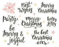 Christmas holidays hand lettering set Stock Photos