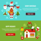 Christmas Holidays Horizontal Banners. Set of horizontal flat banners with merry christmas composition and happy holidays at home  vector illustration Royalty Free Stock Photography