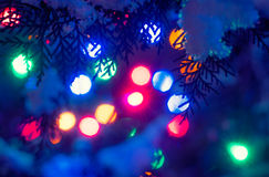 Christmas holidays lights defocused background in Royalty Free Stock Photography