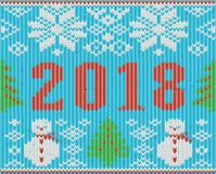 Christmas holidays 2018 New Year knitted texture. Vector illustration stock illustration