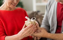 Close up of senior couple with christmas gift Stock Photography