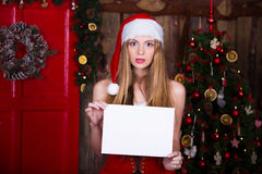 Christmas, holidays and people concept - confused Royalty Free Stock Photos