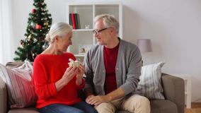 Happy smiling senior couple with christmas gift stock video footage