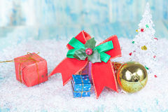 Christmas, holidays, presents, new year and Royalty Free Stock Photo