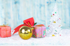 Christmas, holidays, presents, new year and Royalty Free Stock Photography