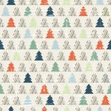 Christmas and Holidays seamless pattern with tree Stock Photo