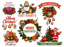 Christmas holidays sketch for greeting card design Royalty Free Stock Photo