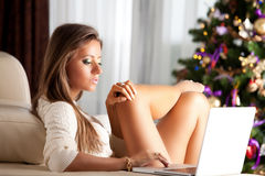 Christmas, holidays, technology and people concept Stock Image