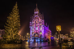 Christmas in Holland. City Hall in Gouda, South Holland, decorated for Christmas Royalty Free Stock Photo