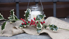 Christmas hollt and red berries Stock Images