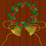 Christmas holly. Holly, gold bell, christmas bell, christmas holly, christmas Stock Photography