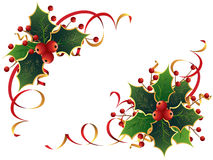 Christmas Holly. Vector set of two Christmas decorations with holly and streamers