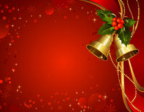 Christmas holly. Festive bells with Christmas holly Royalty Free Stock Photo