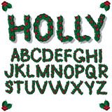 Christmas Holly alphabet Royalty Free Stock Photography