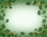 Christmas Holly border. Illustrated Background, border or frame for Christmas with sparkling lights and holly leaves for Holiday card,  poster, letter or Royalty Free Stock Images