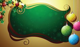 Christmas holly and ball decor Stock Images
