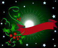 Christmas holly banner stock illustration