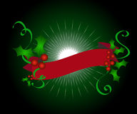 Christmas holly banner Stock Photos