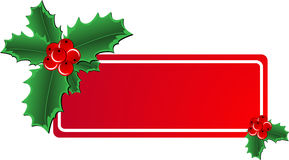 Christmas Holly banner. Christmas vector holly ornament with a space for text message Royalty Free Stock Photography