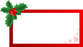 Christmas Holly banner. Christmas vector holly ornament with a space for text message Royalty Free Stock Photo