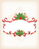 Christmas Holly Banner Background. With text Marry Christmas on 30 different languages / vector Royalty Free Stock Photography