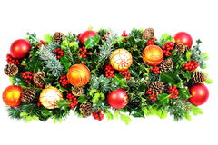 Christmas Holly and Baubles Stock Photography