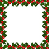 Christmas holly berries frame on white bacground. Vector illustration Stock Photo