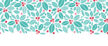 Christmas holly berries horizontal seamless. Vector Christmas holly berries horizontal seamless pattern background with hand drawn elements Royalty Free Stock Images