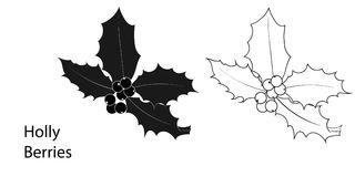 Christmas holly berries icon in black and white color. Hand drawn  illustration. Christmas holly berries icon. Hand drawn  illustration Stock Images