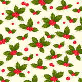 Christmas holly berries seamless pattern background Stock Photography