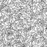Christmas holly berries seamless pattern. Black and white traditional Christmas decoration. Boundless background can be used for web page backgrounds Stock Image