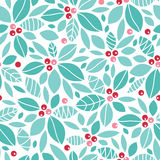 Christmas holly berries seamless pattern