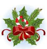 Christmas holly berry branches and bow Stock Photography