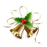 Christmas Holly Berry and gold bells Stock Images