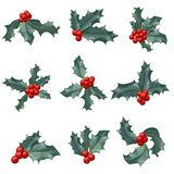 Christmas holly berry icon collection. Vector illustration Royalty Free Stock Photos