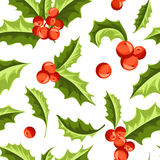 Christmas Holly Berry seamless pattern. Vector Illustration Royalty Free Stock Photo