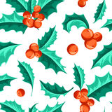 Christmas Holly Berry seamless pattern. Vector Illustration Royalty Free Stock Images